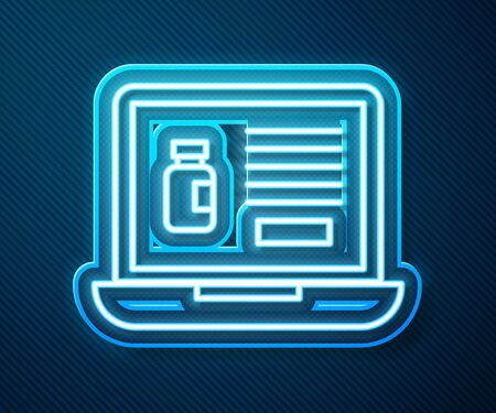 Glowing neon line Buying drugs online on laptop icon isolated on blue background. Online buying symbol. Vector Illustration Ilustrace