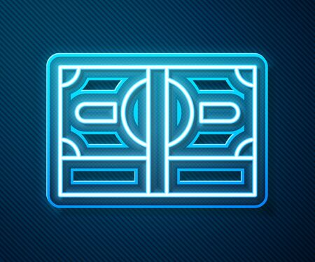 Glowing neon line Stacks paper money cash icon isolated on blue background. Money banknotes stacks. Bill currency. Vector Illustration