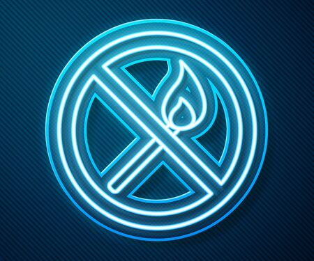 Glowing neon line No fire match icon isolated on blue background. No open flame. Burning match crossed in circle. Vector Illustration