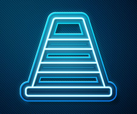 Glowing neon line Traffic cone icon isolated on blue background. Vector Illustration Stock Illustratie