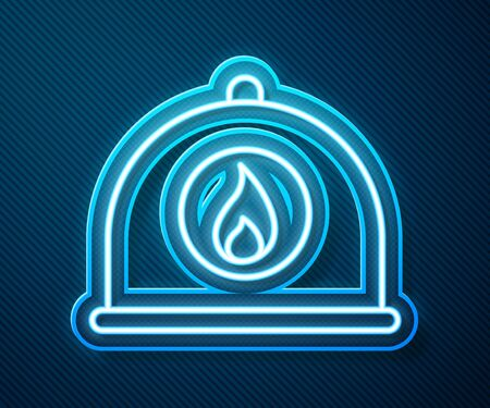 Glowing neon line Firefighter helmet or fireman hat icon isolated on blue background. Vector Illustration Иллюстрация