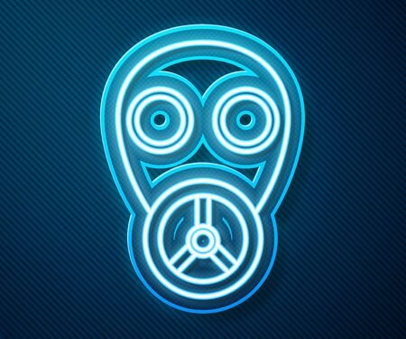 Glowing neon line Gas mask icon isolated on blue background. Respirator sign. Vector Illustration Ilustração
