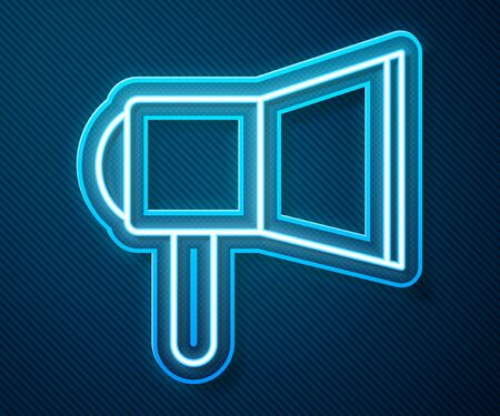 Glowing neon line Megaphone icon isolated on blue background. Speaker sign. Vector Illustration Ilustrace