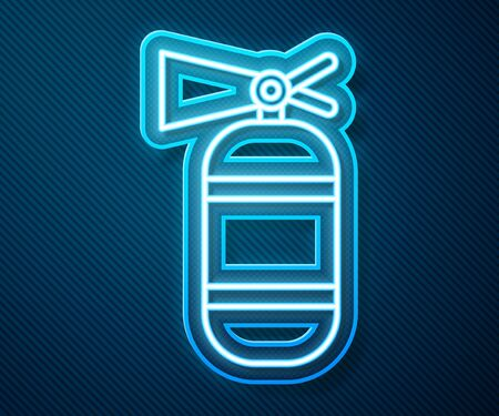 Glowing neon line Fire extinguisher icon isolated on blue background. Vector Illustration Иллюстрация