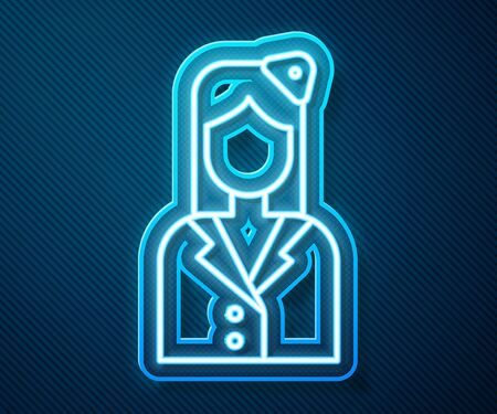 Glowing neon line Stewardess icon isolated on blue background. Vector Illustration
