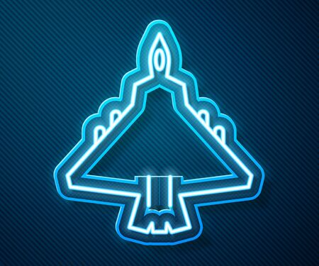 Glowing neon line Jet fighter icon isolated on blue background. Military aircraft. Vector Illustration