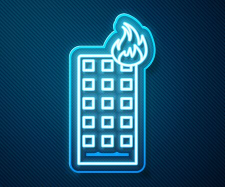 Glowing neon line Fire in burning building on city street icon isolated on blue background. Vector Illustration Vettoriali