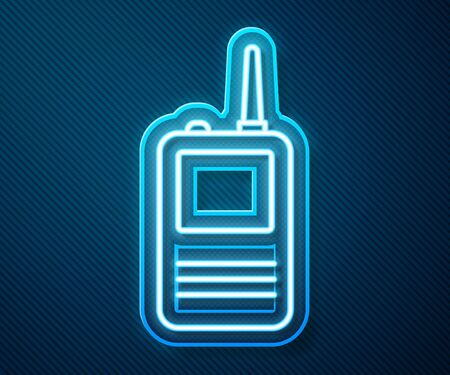 Glowing neon line Walkie talkie icon isolated on blue background. Portable radio transmitter icon. Radio transceiver sign. Vector Illustration