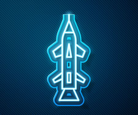 Glowing neon line Rocket icon isolated on blue background. Vector Illustration