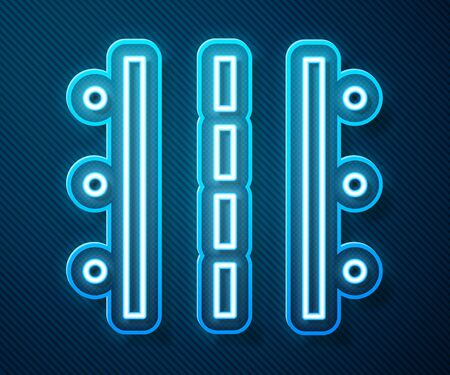 Glowing neon line Airport runway for taking off and landing aircrafts icon isolated on blue background. Vector Illustration