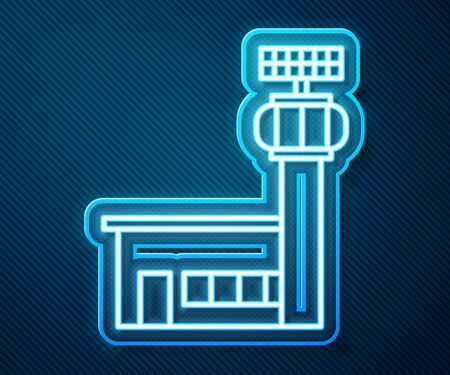 Glowing neon line Airport control tower icon isolated on blue background. Vector Illustration