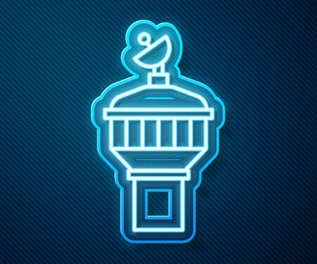 Glowing neon line Radar icon isolated on blue background. Search system. Satellite sign. Vector Illustration