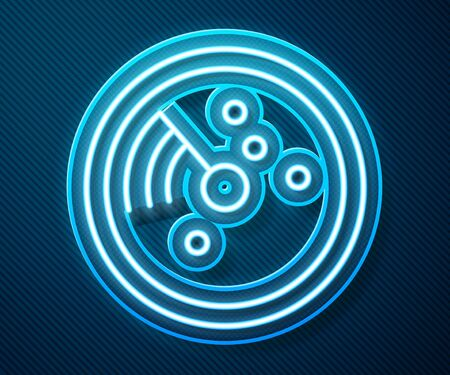 Glowing neon line Radar with targets on monitor in searching icon isolated on blue background. Search system. Navy sonar. Vector Illustration Illusztráció