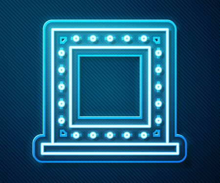 Glowing neon line Makeup mirror with lights icon isolated on blue background. Vector Illustration