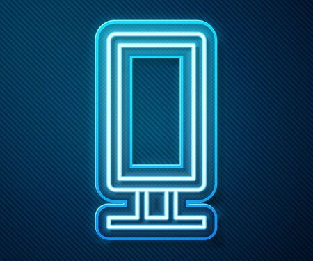 Glowing neon line Big full length mirror for bedroom, shops, backstage icon isolated on blue background. Vector Illustration