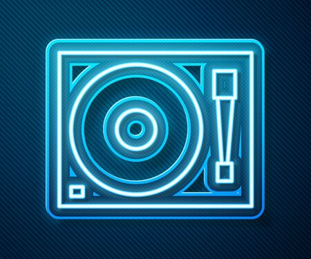 Glowing neon line Vinyl player with a vinyl disk icon isolated on blue background. Vector Illustration Stock Illustratie