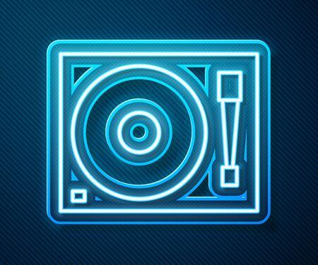 Leuchtende Neon-Linie Vinyl-Player mit einem Vinyl-Disk-Symbol auf blauem Hintergrund isoliert. Vektorillustration