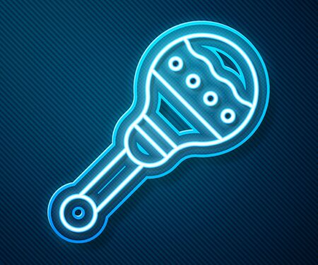Glowing neon line Maracas icon isolated on blue background. Music maracas instrument mexico. Vector Illustration Vectores
