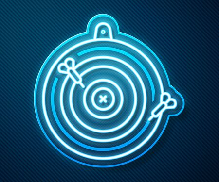 Glowing neon line Classic dart board and arrow icon isolated on blue background. Dartboard sign. Game concept. Vector Illustration