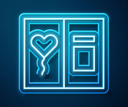 Glowing neon line Greeting card icon isolated on blue background. Celebration poster template for invitation or greeting card. Vector Illustration Standard-Bild - 140591170