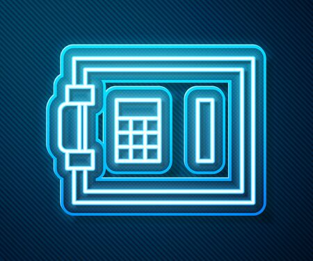Glowing neon line Safe icon isolated on blue background. The door safe a bank vault with a combination lock. Reliable Data Protection. Vector Illustration