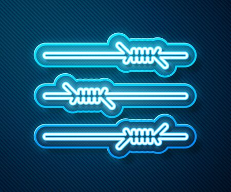 Glowing neon line Barbed wire icon isolated on blue background. Vector Illustration