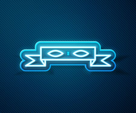 Glowing neon line Thief eye mask icon isolated on blue background. Vector Illustration