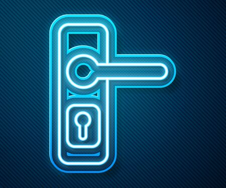 Glowing neon line Door handle icon isolated on blue background. Door lock sign. Vector Illustration