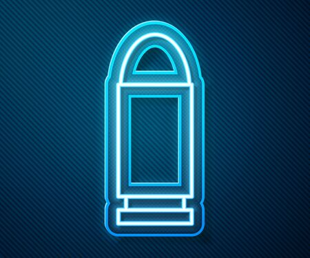Glowing neon line Bullet icon isolated on blue background. Vector Illustration
