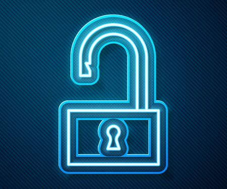 Glowing neon line Open padlock icon isolated on blue background. Opened lock sign. Cyber security concept. Digital data protection. Vector Illustration