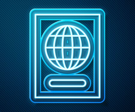 Glowing neon line Passport with biometric data icon isolated on blue background. Identification Document. Vector Illustration