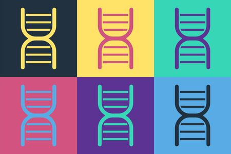 Pop art DNA symbol icon isolated on color background. Vector Illustration