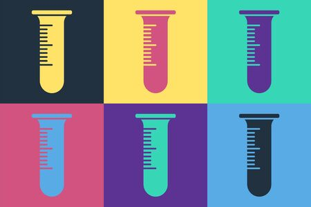 Pop art Test tube and flask icon isolated on color background. Chemical laboratory test. Laboratory glassware. Vector Illustration Illustration
