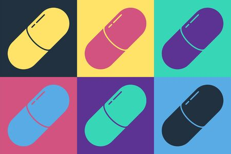 Pop art Medicine pill or tablet icon isolated on color background. Capsule pill and drug sign. Pharmacy design. Vector Illustration