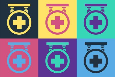 Pop art Hospital signboard icon isolated on color background.  Vector Illustration