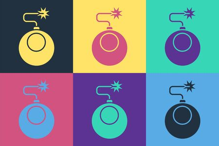 Pop art Bomb ready to explode icon isolated on color background. Vector Illustration
