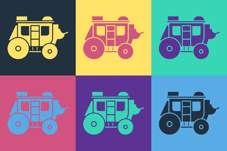 Pop art Western stagecoach icon isolated on color background.  Vector Illustration