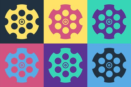 Pop art Revolver cylinder icon isolated on color background. Vector Illustration
