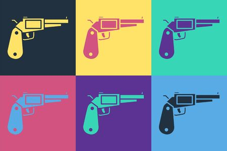 Pop art Revolver gun icon isolated on color background. Vector Illustration