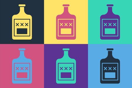 Pop art Whiskey bottle icon isolated on color background. Vector Illustration