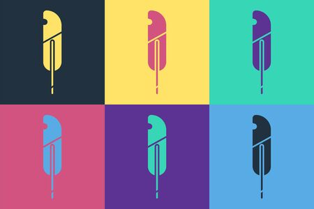 Pop art Feather pen icon isolated on color background. Vector Illustration
