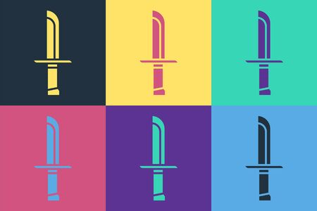 Pop art Military knife icon isolated on color background. Vector Illustration