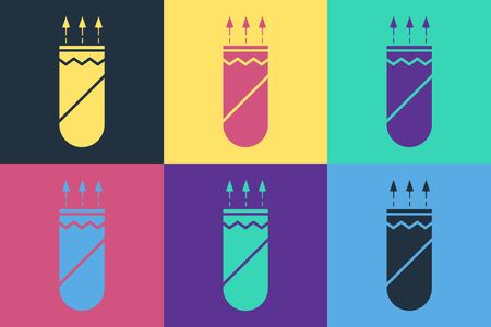 Pop art Quiver with arrows icon isolated on color background. Vector Illustration Illustration