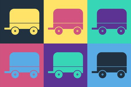 Pop art Wild west covered wagon icon isolated on color background. Vector Illustration Vecteurs