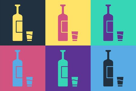 Pop art Whiskey bottle and glass icon isolated on color background. Vector Illustration