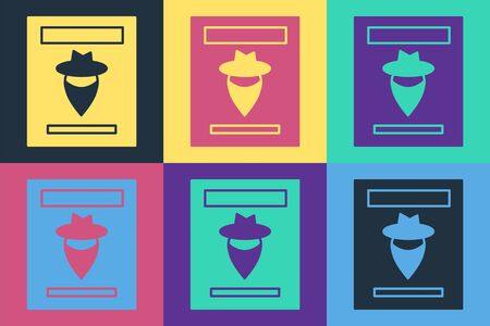Pop art Wanted western poster icon isolated on color background. Reward money. Dead or alive crime outlaw. Vector Illustration