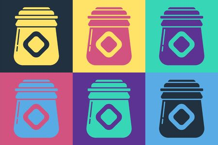 Pop art Jar of honey icon isolated on color background. Food bank. Sweet natural food symbol. Vector Illustration