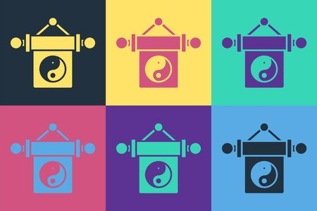 Pop art Yin Yang symbol of harmony and balance icon isolated on color background. Vector Illustration