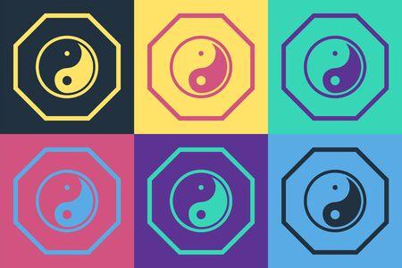 Pop art Yin Yang symbol of harmony and balance icon isolated on color background. Vector Illustration Ilustracja