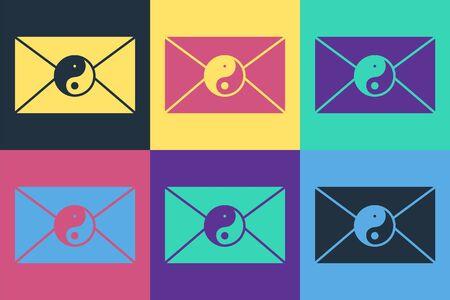 Pop art Yin Yang and envelope icon isolated on color background. Symbol of harmony and balance. Vector Illustration Ilustracja